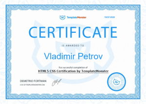 HTML5 CSS Certification by TemplateMonster